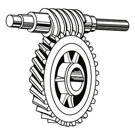 Worm gear mechanism illustration.