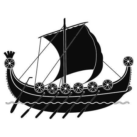 tactics: Viking ship with oars and shields.