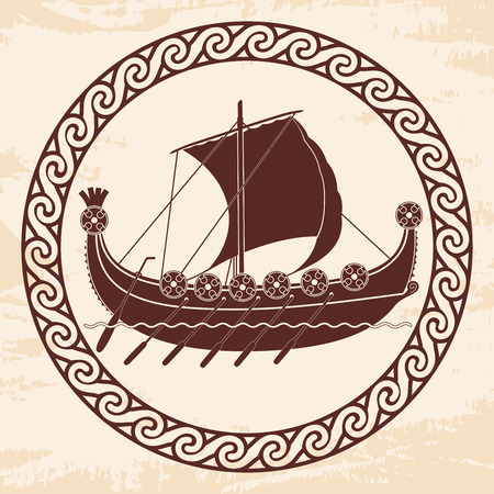 Viking ship with oars and shields.