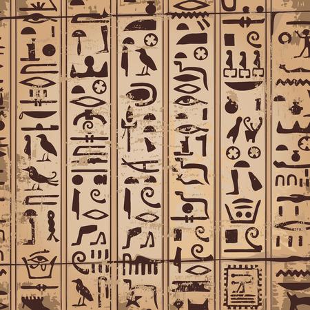 Ornamentos egipcios y jeroglíficos