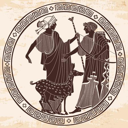Vector Greek drawing. vector illustration.
