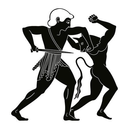 テセウスは、ミノタウロスを殺します。  イラスト・ベクター素材