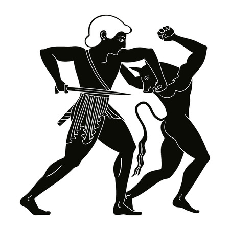 Theseus doodt de minotaur. Stock Illustratie