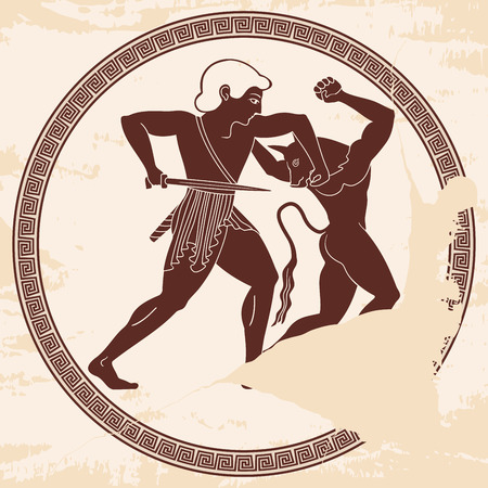 Teseo uccide il minotauro.