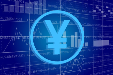 contextual: Vector business theme illustration. A yen sign against the background of electronic digits and graphs.