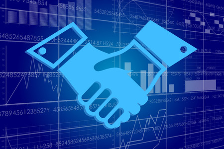 contextual: Illustration of the global business and digital technologies. Handshake on a background of a board with stock charts.