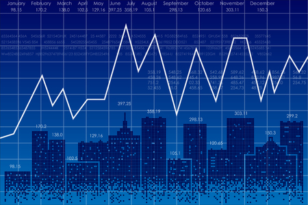 Vector business theme illustration. Night city and stock charts. Illustration