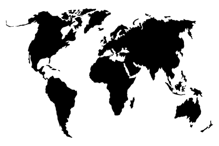 world black and white map