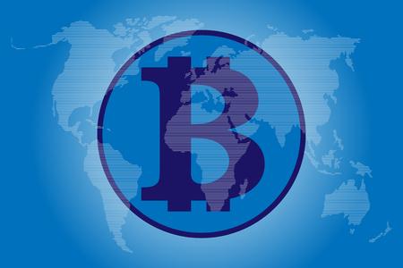 Block Chain and World map Stock Photo