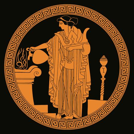 Starożytnego Grka bogini Aphrodite na tle, wektorowa ilustracja.