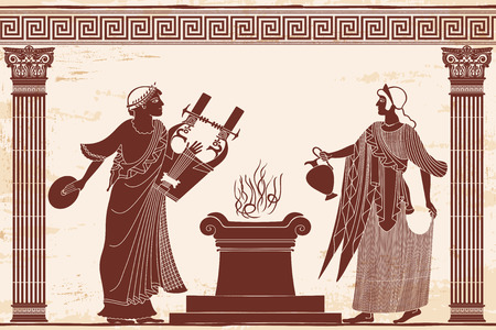 Ancient Greek goddess Aphrodite with a pitcher and god of marriage Hymen with a musical instrument. Drawing isolated on white background. Иллюстрация