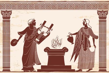 Antigua diosa griega Afrodita con un cántaro y dios del matrimonio Himen con un instrumento musical. Dibujo aislado sobre fondo blanco.
