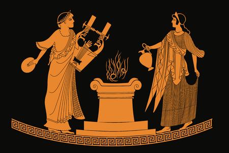 古代ギリシャの女神アフロディーテ投手と楽器との結婚処女膜の神。黒の背景に分離された図面。