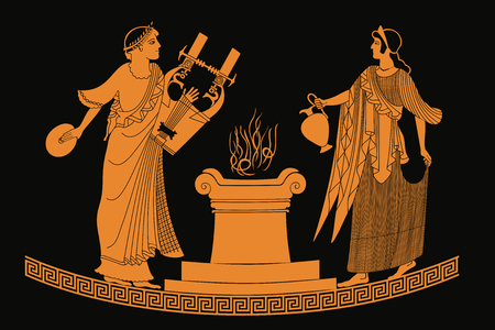 Ancient Greek goddess Aphrodite with a pitcher and god of marriage Hymen with a musical instrument. Drawing isolated on black background.