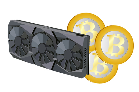 Video card with three coolers and bitcoin for the computer. Vector image. 向量圖像