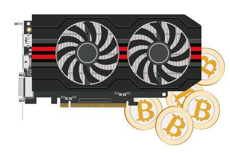 Video card in a black case with two coolers for the cryptoferm and bitcoin. Vector image.