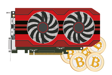 Video card in a red case with two coolers for the cryptoferm and bitcoin. Vector image.