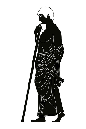 Ancient Greek man stands in profile with a staff and a paryrus in the arms. Vector image stylized as an antique painting.