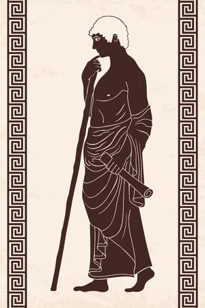 Ancient Greek man, monochrome illustration.
