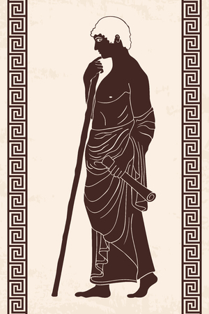 Ancient Greek man, monochrome illustration.