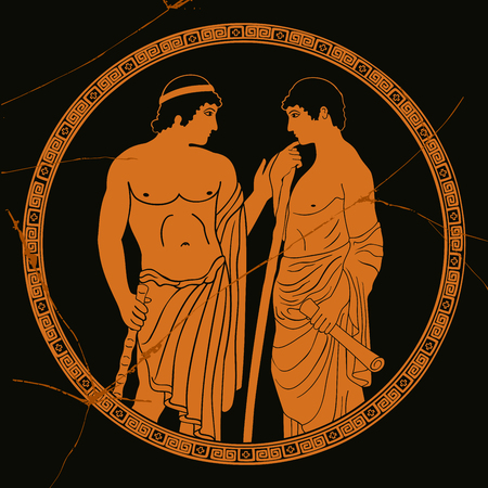 Two ancient Greek mans stands with a staff and a papyrus in the arms and talks. vector image stylized as an antique painting.