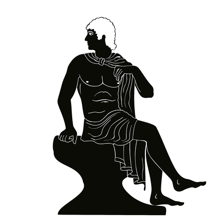 Ancient Greek man sits on a rock and looks away. Vector black pattern isolated on white background stylized as an antique painting.