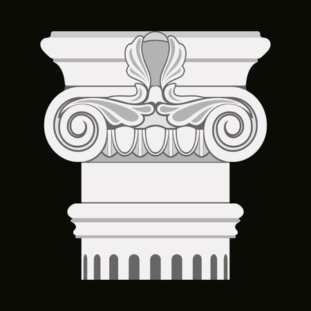 Vector image of ancient Greek capitals of columns on a black background.