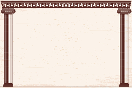Ancient Greek background with two columns and a national ornament. Old beige papyrus with the aging effect.