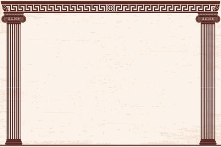Fondo del greco antico con due colonne e un ornamento nazionale. Vecchio papiro beige con effetto invecchiante.