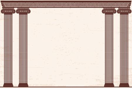 Oude Griekse achtergrond met vier kolommen en een nationaal ornament. Oude beige papyrus met het verouderende effect. Stockfoto