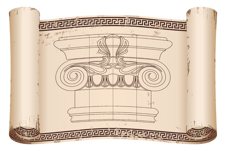 Ancient Greek papyrus with a national ornament and the capital of the column. Old beige paper with the aging effect isolated on white background. Ilustração
