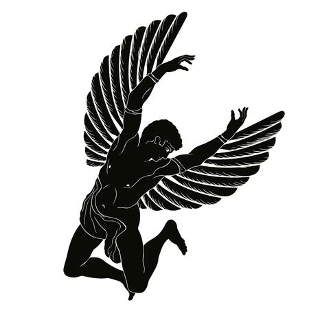 De held van de oude Griekse mythe Icarus met vleugels vliegt in de lucht. Zwarte tekening op een witte achtergrond