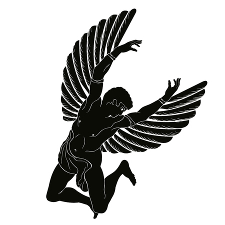 The hero of the ancient Greek myth Icarus with wings flies in the sky. Black drawing isolated on white background Ilustracja
