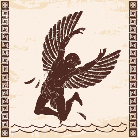 Icarus with the wings. Vector illustration. Çizim