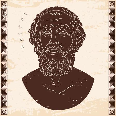 Bust of the Greek poet Homer. Vector illustration.