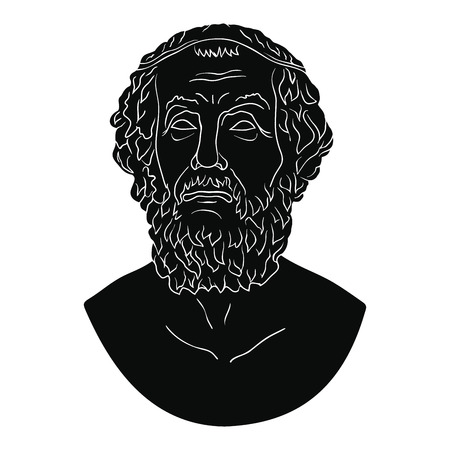 Bust of the Greek poet Homer. Illustration