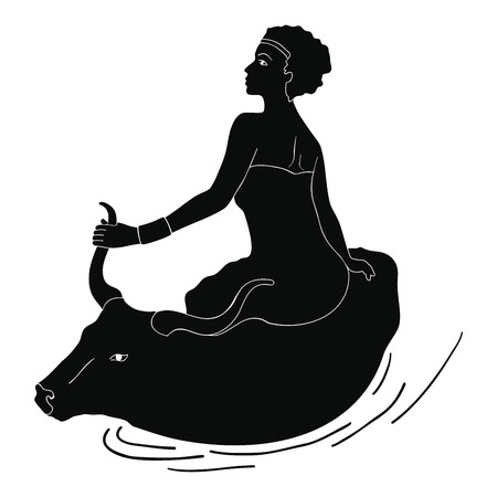 Ancient Greek drawing of a woman sitting at the back of a ball 向量圖像