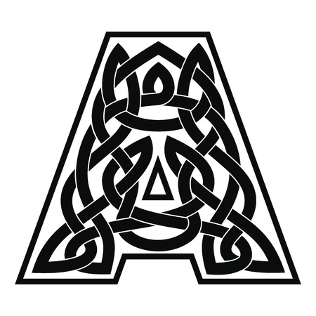 Letter A with Celtic ornament.