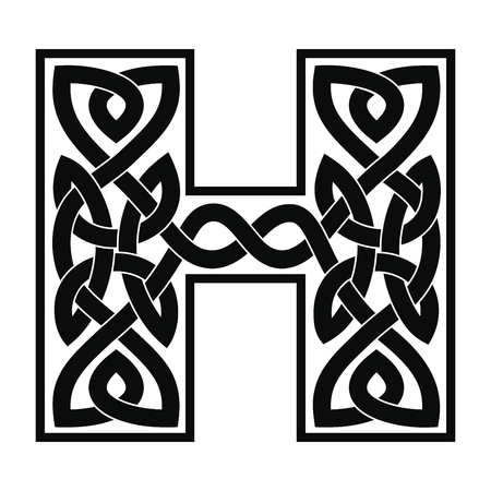 Letter with Celtic ornament.