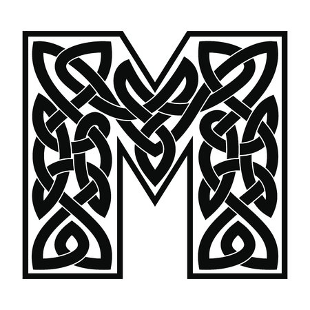 Letter M with Celtic ornament.