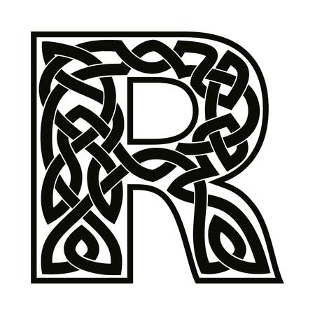 Letter R with Celtic ornament. Stock Illustratie