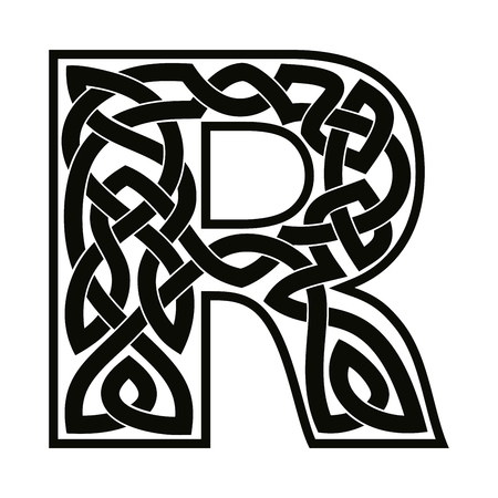 Letter R with Celtic ornament. 向量圖像