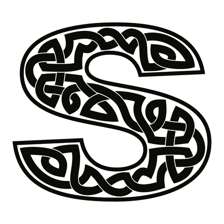Letter S with Celtic ornament.