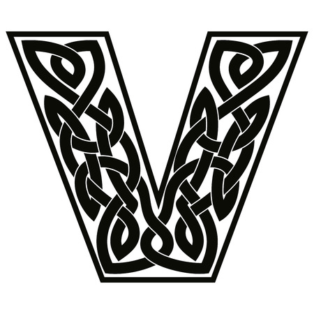Letter V with Celtic ornament.