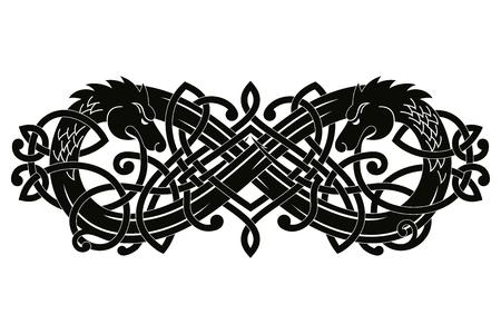 Celtic two-headed dragon. Illustration