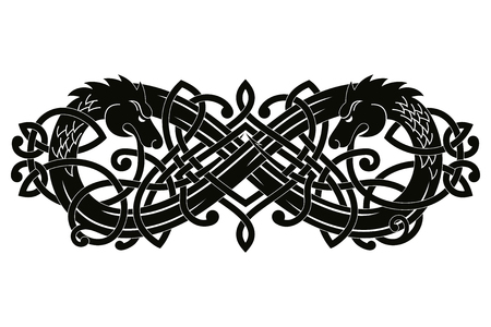 Celtic two-headed dragon with national ornament intertwined ribbon isolated on white background. Standard-Bild