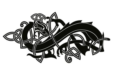 Celtic two-headed dragon. Vettoriali