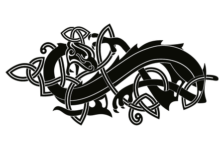 Celtic two-headed dragon. Stock Illustratie