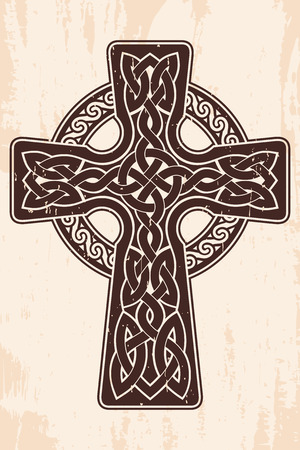 Celtic cross with national ornament as interlaced ribbon. Old brown background with the aging effect. Vectores
