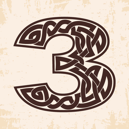 Arabic numerals with Celtic national ornament as interlaced ribbon on a beige background. Paryrus with the aging effect.